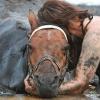 A nő kétségbeesetten nézi süllyedő lovát a homokban, de a végén nem várt segítség érkezik