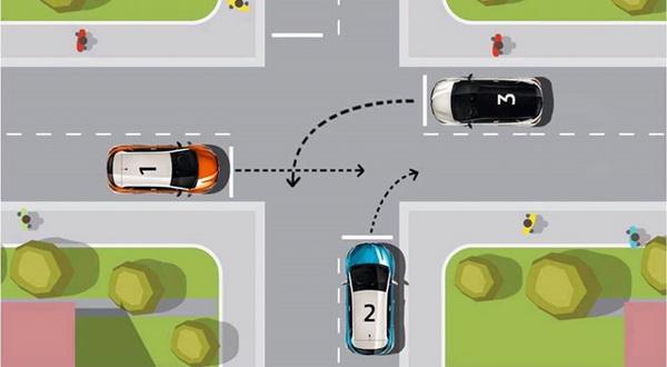 Milyen sorrendben mehetnek át az autók ebben a kereszteződésen